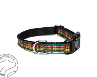 "Buchanan Tartan Small Dog Collar - Thin Dog Collar - 1/2"" (12mm) Wide - Yellow Green Red Plaid - Choice of style and size"