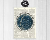 Move the Stars Labyrinth Inspired Print on an Antique Unframed Upcycled Bookpage