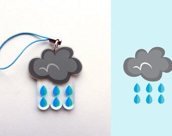 Acrylic Rain, Raining, Storm, Wet, Water, Cloud Charm Keychain with Phone Strap