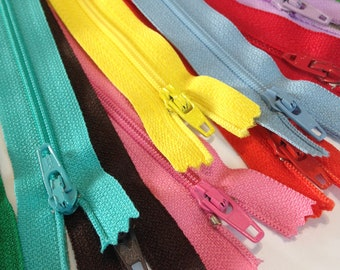 """12 pack bundle of zippers, choose 16"""" 18 """" 20 """" or 22"""",multi color zippers, discount sale price, prices to sell"""