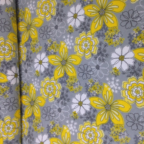 yellow white flower fabric, Camelot fabric, gray yellow floral ...