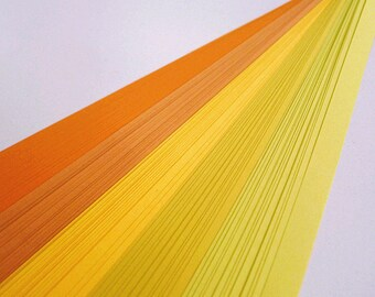 Orange And Yellow Mixed Origami Lucky Star Paper Strips Star Folding DIY - Pack of 100 Strips