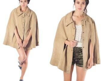 70s Vintage Suede Leather Cape Tan Beige Western Jacket Coat poncho One size S M L XL