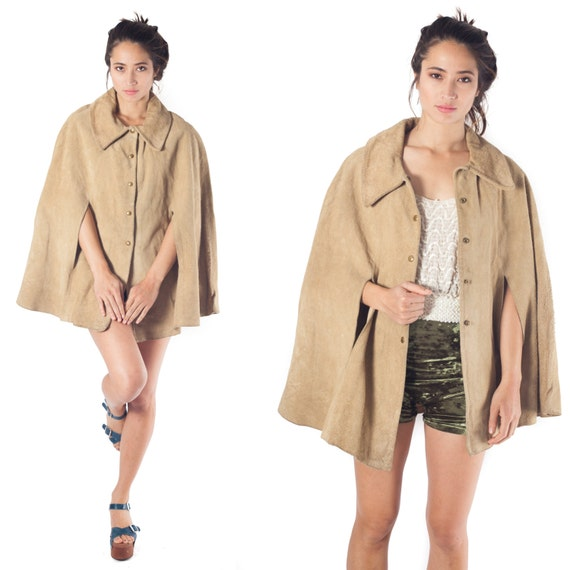 70s Vintage Suede Leather Cape Tan Beige Western Jacket Coat poncho One size S M L XL