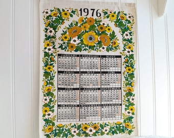 Fabric wall calendar 1976, vintage Swedish printed wallhanging, seventies brown , green  , yellow