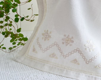 "White Hardanger dresser scarf , vintage Swedish table runner , white on white embroidery , 10 "" x 20 """