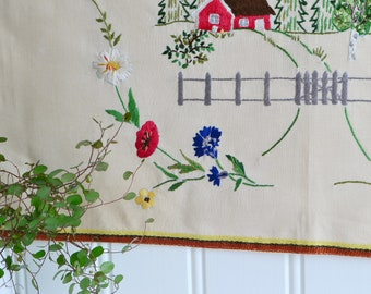 "Classic Swedish embroidery, vintage wallhanging, red cottage motif , fifties home decor, 13 "" x 28 "", see all photos"