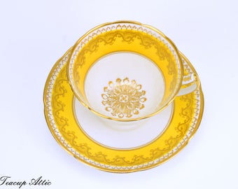 Gladstone Yellow Teacup and Saucer, English Bone China Tea Cup Set, Garden Tea Party, ca. 1946-1961