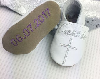 Christening Shoes - Iridescent Baptism Shoes - leather baby shoes - christening keepsake - Christening gift - personalized christening shoes