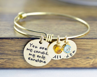 Personalized You Are My Sunshine Bracelet - Hand Stamped Jewelry - Gold Bangle Bracelet - Kids Names - Personalized Bangle Bracelet - Mom