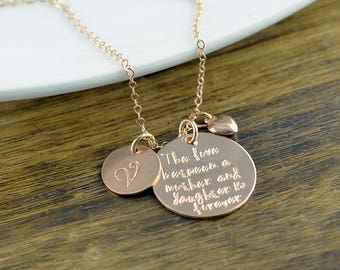 The Love Between A Mother And Daughter, Rose Gold Necklace, Personalized Necklace, Hand Stamped Necklace, Mothers Day From Daughter,