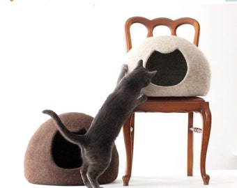 Unique gift - Cat bed - cat cave - cat house - wool cat bed - brown felted cat bed - made to order - Mothers day gift - gift for cat