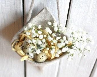 Wedding cone / felt basket - rustic wedding decoration - white pink purple flowers cone