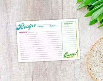 Recipe Card, Printable Template, Instant Digital Download, 4x6, Bright Colors