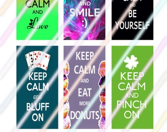 """Keep Calm Saying 1"""" x 2"""" Domino Images 4x6 Digital Collage Sheet Instant Download"""