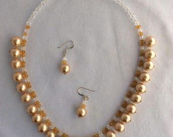 Hanging gold Shell pearl and crystal necklace & earrings set