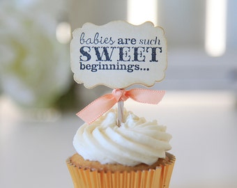 Baby Shower Cupcake toppers, Babies are Sweet, Gender Neutral Baby Shower, 12 Toppers