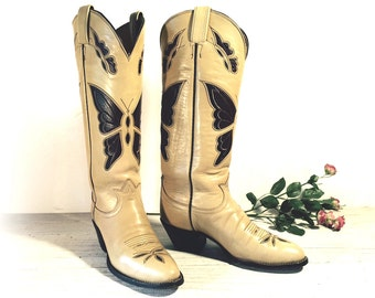 Vintage Cowboy Boots, Tall Tony Lama Black Label Cream & Brown All Leather with Butterfly Inlays, Cut-outs, Women's size 6 B, 6.5