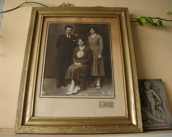 Antique,gilt wooden frame with old black & white Greek family photograph,19'' x 15''