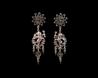 Vintage French Silver Cupid Chandelier Stud Earrings, Love Token, Venus as a Boy, Boy Angels, Loving Gift for Her, Roses, Gothic, Romantic