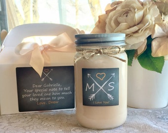 Personalized Wedding Candle//Anniversary Candle/Soy Candle//Large Pint//16 oz.//Mason Jar//Valentines Day Candle//Chalkboard// Hand Poured