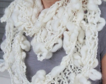 GIFT SALE SALE Hand Knit Infinity (Cowl) Scarf, in Natural Ivory and made of Rustic Argentina Wool Yarn