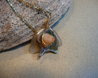 Light amethyst sea glass and opal pendant necklace-FREE SHIPPING