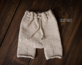 Newborn knit cable pants cream ready to ship Photography Prop RTS