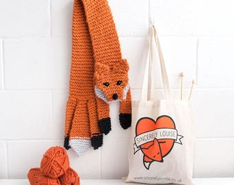 Beginners Faux Fox Scarf Knitting Kit - Easy DIY Project