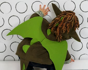 Wild & Woolly Dragon Coat, Magical Dragon, Green Fleece Jacket for boys and girls, Character Coat
