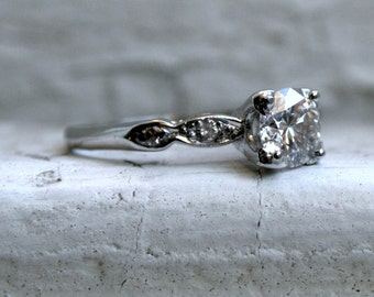 Vintage Platinum Diamond Engagement Ring - 0.76ct.