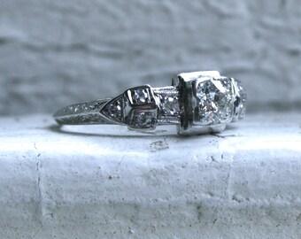 RESERVED - Vintage Platinum Art Deco Diamond Engagement Ring - 0.59ct.