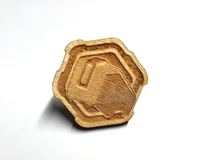 Overwatch Bastion Pin   Laser Cut Jewelry   Wood Accessories
