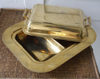 brass toned covered dish, brass chafing dish, brass serving dish, Hollywood Regency, Dirilyte chafing dish, bronze alloy