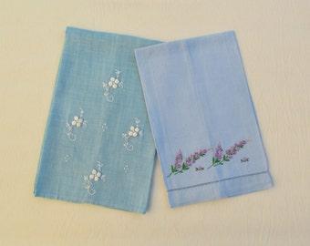Vintage embroidered linen towels, lot of 2 blue guest towels or tea towels with embroidered flowers
