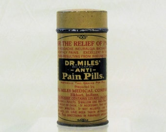 Vintage Dr. Miles Anti Pain Pills tin, collectible tin, vintage drugstore product
