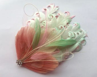 MAUREEN Mint, Pink, and Ivory Peacock Feather Fascinator, Cocktail Fascinator, with Crystal