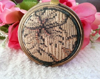 Vintage Tapestry Powder Compact