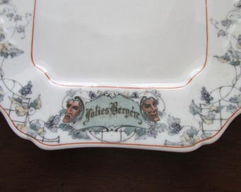 Folies Bergère New York Dinner Cabaret 1911 Plate American Restaurantware by Lamberton China, Distributed by L. Barth & Son