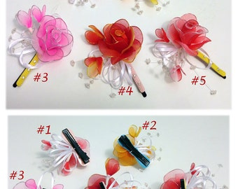 Handmade Colorful Mini Rose with Hairclip