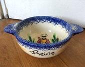 Breton bowl. French Mont Saint Michel blue bowl for Reine