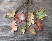 Autumn leaf necklace, glazed ceramic, fall colours, antique bronze tone