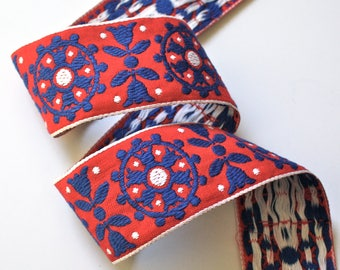 "Vintage Woven Jacquard Ribbon  2"" x 1 yd  Red, White, Blue"
