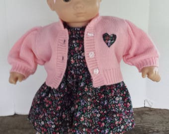 "American Girl 15 ""Bitty Twins/Bitty Baby Doll Clothing -Black Floral Dress, Pink Sweater, Headband and Shoes"