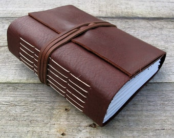 """Leather journal, Jack Kerouac quote, """"One day I will find the right words and they will be simple"""",  writing journal / 320 pages"""