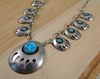 Sterling Silver Turquoise Bear Claw Squash Blossom Necklace, Vintage Native American Indian Necklace, Turquoise Shadowbox Bear Claw Necklace