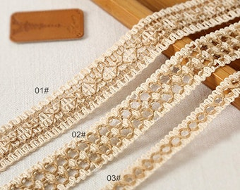 2 Yards Cotton and linen lace Trims, Woven cotton and linen, Scalloped,Cotton (T353)