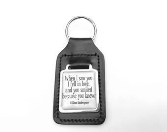Shakespeare Key Chain, When I Fell in Love Cuff Key Chain, Quote Key Ring, Gifts for Her, Gifts for Him, Leather Keyring