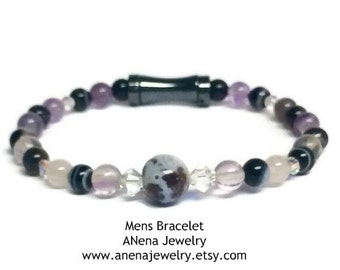 INCREDIBLE GRATITUDE Bracelet By ANena Jewelry : Fancy Jasper, Fluorite, Amethyst, Banded Agate, Swarovski Crystal and Hematite