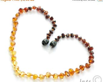 CHRISTMAS SALE Baltic Amber Baby Teething Necklace Rainbow Color Rounded Beads